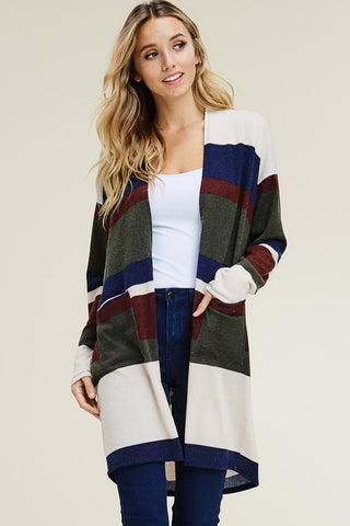 Olive/Navy/Burgundy Striped Cardigan with Pockets