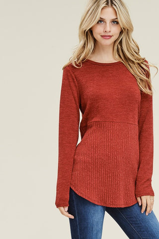 Rust Long Sleeve Sweater Top