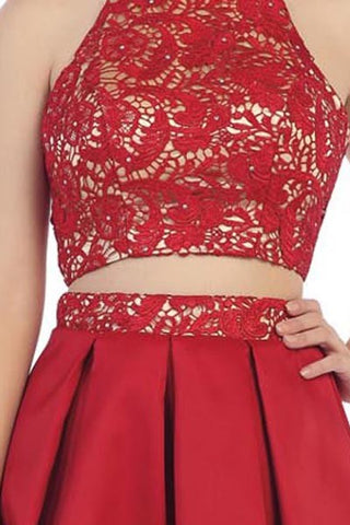 Red 2pc Halter Prom/Pageant Dress