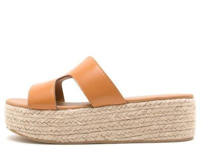 Cognac Burnish Pu Cut Out Espadrille Sandal