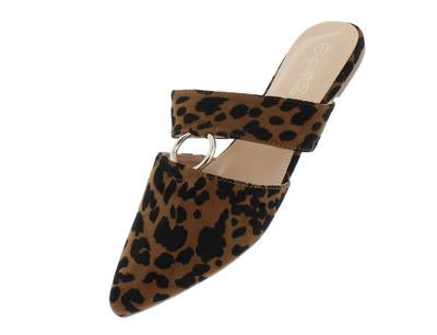 Brown Cheetah Single Strap Pointed Toe Mule Flat