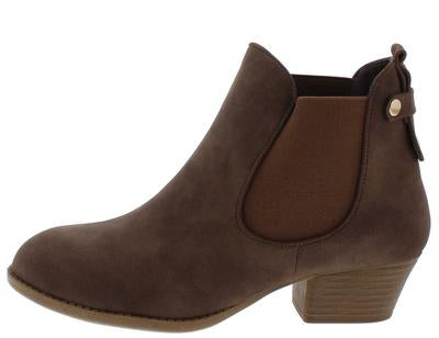 Brown Stretch Panel Low Heel Ankle Boot