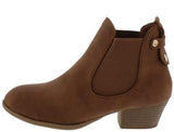 Tan Stretch Panel Low Heel Ankle Boot