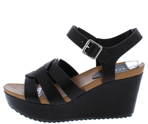 Black Woven Open Toe Cut Out Platform Wedges
