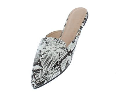 Black & White Snake Pointed Toe Mule Loafer Flat