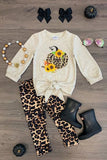 Ivory Girls 2pc Sunflower Cheetah Tie Set