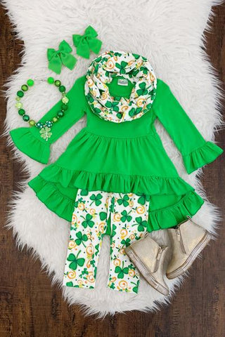 Green Girls 3pc St. Patrick's Day Outfit Tunic with Matching Leggings and Scarf