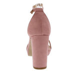Dusty Rose Open Toe Ankle Strap Low Platform Heel
