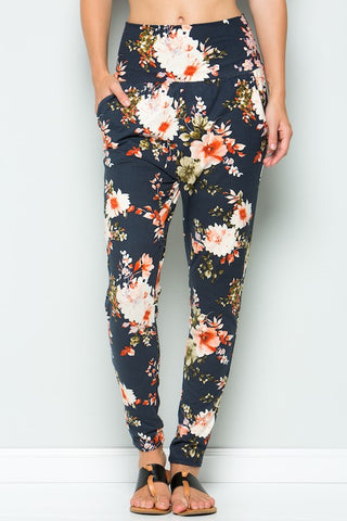 Navy Blue Floral High Waist Pants With Pockets