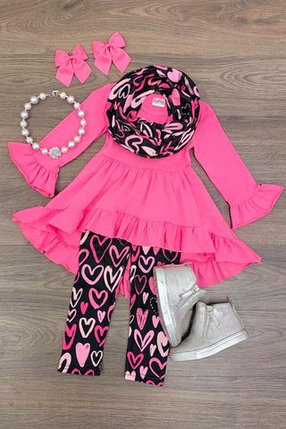 Pink & Black Girls 3pc Tunic with Matching Leggings and Scarf