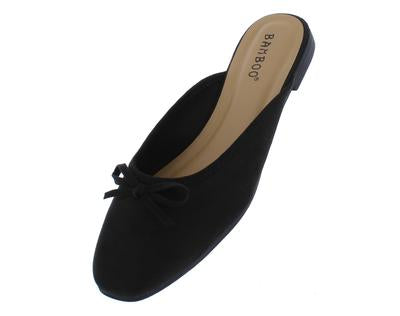 Black Bow Ballet Toe Mule Slide Flat