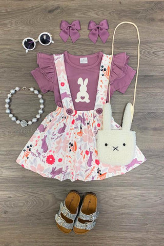 Purple Bunny Suspender Skirt Set