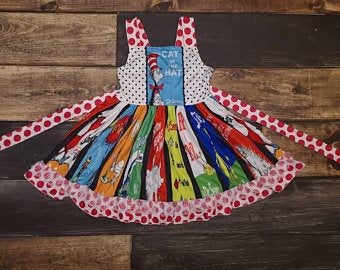 Red Dr. Suess Polka Dotted Twirl Dress