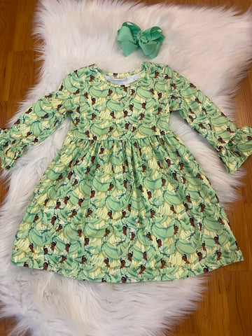 Green Princess and the Frog Flutter Sleeve Dress