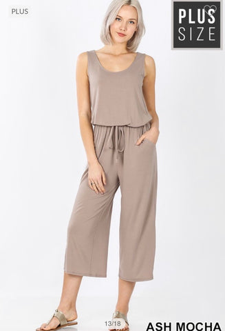 Ash Mocha Curvy Plus Sleeveless Cropped Jumpsuit