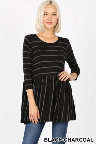 Black and Charcoal Striped Tunic Top