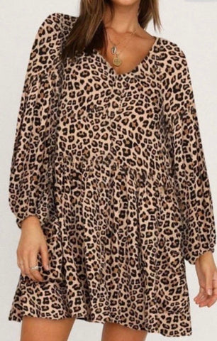 Brown Leopard V Neck Dress w/Balloon Sleeves