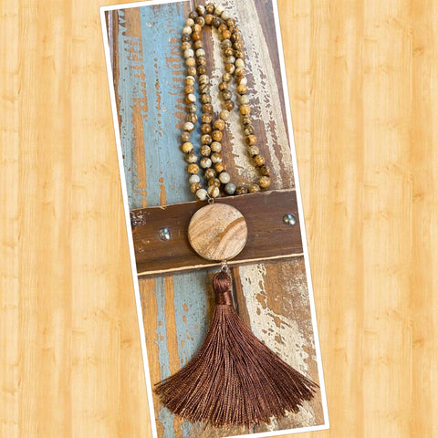 Brown Fedspar Agate Beaded Necklace w/Large Stone and Tassel