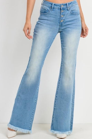 Tricot Mid Rise Crop Button Fly Bootcut Jeans