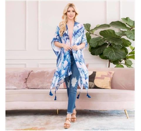 Blue Floral Kimono with Tassels