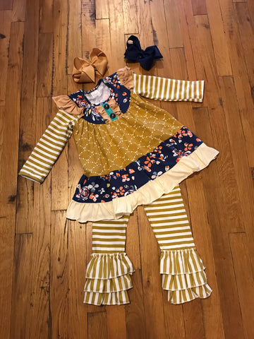 Mustard Girls 2pc Striped Boutique Outfit