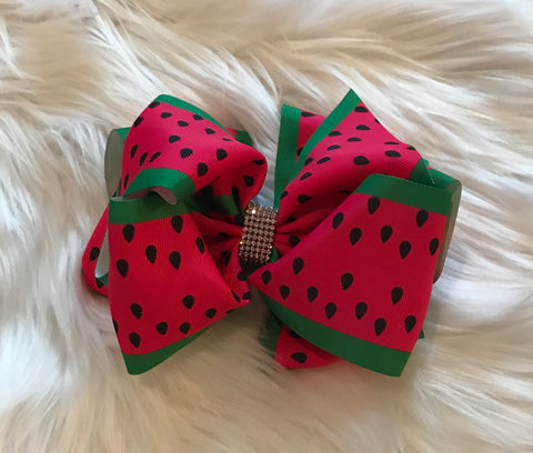 Red Watermelon Hair Bow w/Rhinestones