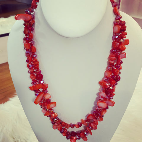 Red Glass Stone Facet Beaded Triple Strand Necklace