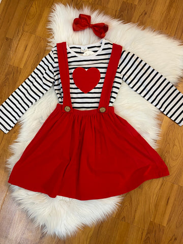 Black and White Striped Top w/Matching Red Suspender Skirt