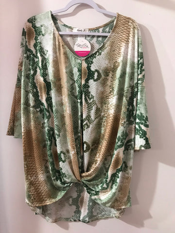 Green and Tan Snakeskin Print Tunic