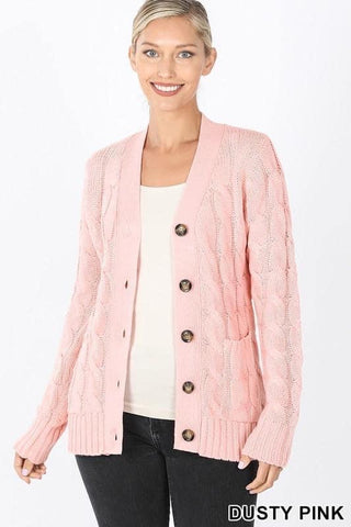 Dusty Pink Cable Knit Cardigan Sweater