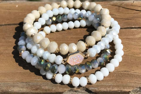 White Facet and Druzy Beaded Bracelet Set