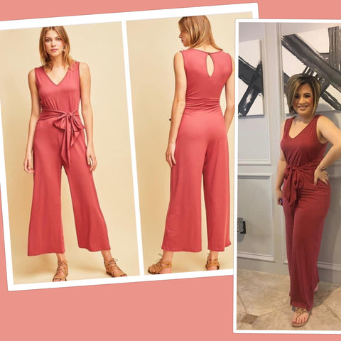 Marsala V Neck Cropped Jumpsuit w/Front Tie