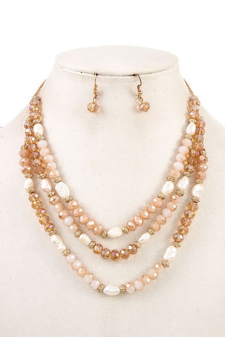 Champagne Bead Necklace Set