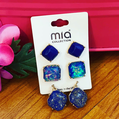 Blue Set of 3 Earrings from Mia Collection