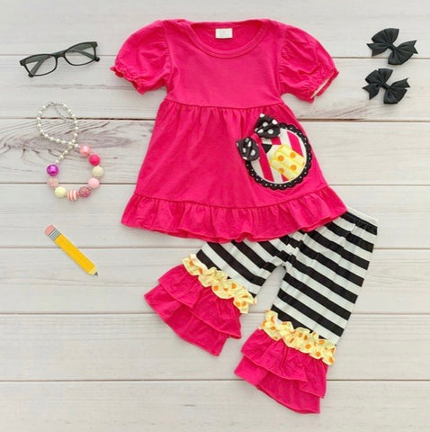 Pink Girls 2pc School Theme Outfit