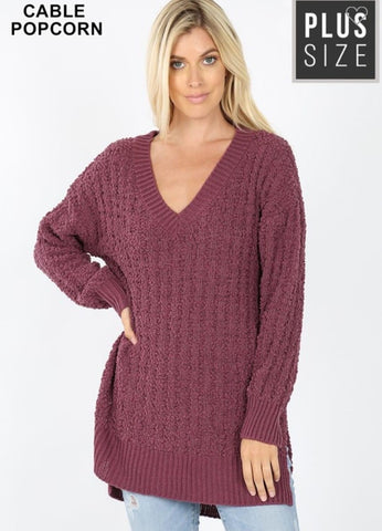 Eggplant Curvy Plus V Neck Popcorn Sweater