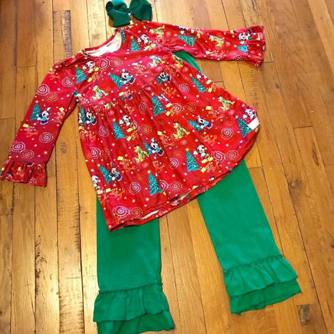 Red & Green Girls 2pc Mickey Mouse Christmas Outfit