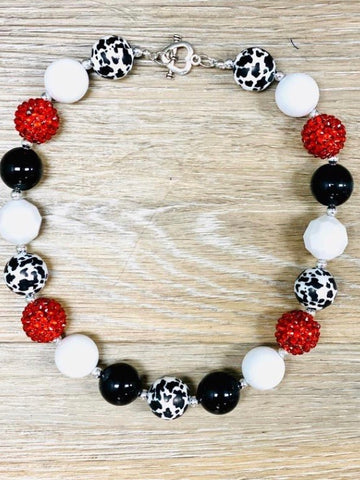 Red and Black Cow Print Girls Bubblegum Necklace