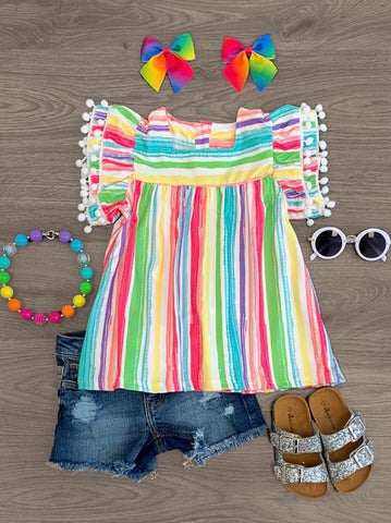 Multi Striped Girls Pom Pom Top