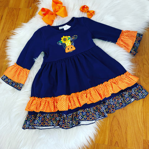 Navy Blue and Orange Cow Dress