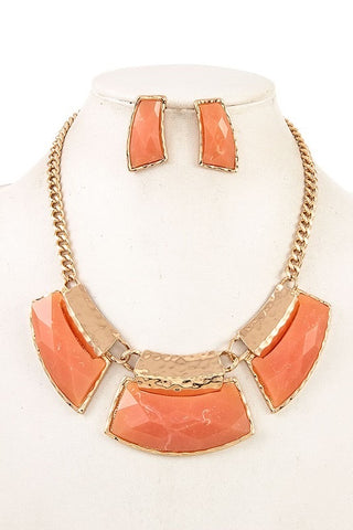 Peach Faceted Necklace Set