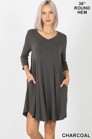 Charcoal Grey V Neck Dress with Pockets