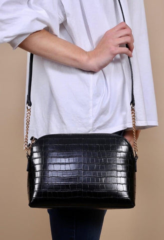 Black Caroline Hill Croc Crossbody