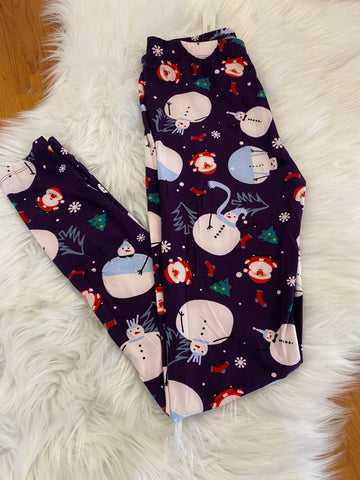 Purple Snowman Christmas Leggings