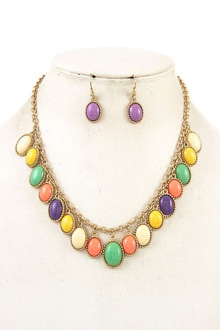Multi Colored Bib Necklace Set