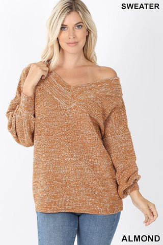 Almond Wide Double V Neck Sweater