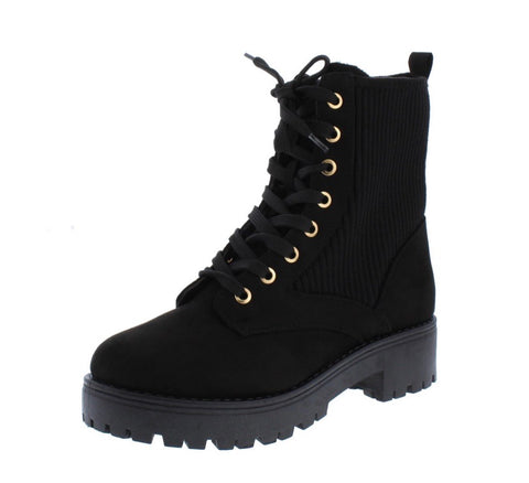 Bamboo Black Combat Boots