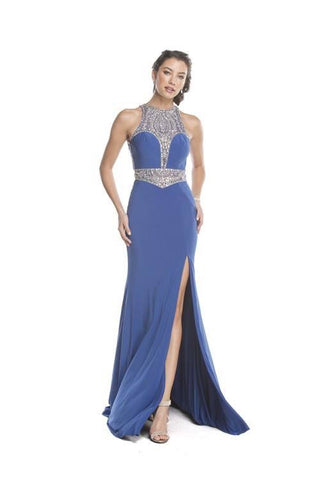 Royal Blue Halter Prom Pageant Dress with Rhinestones and Side Slit