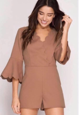 Brown Toast Scalloped Bell Sleeve Romper