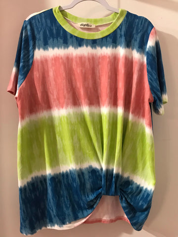 Blue/Green/Coral Tie Dye Twist Front Tunic